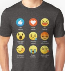 I Love Baking Emoji Emoticon Graphic Tee Shirt Funny Bakers, Chefs, Cooks Unisex T-Shirt