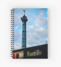 Bastille Monument and Metro Sign Spiral Notebook