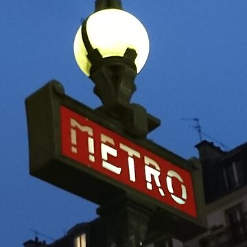 Paris Metro Sign at Night by PaulCoore