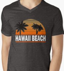 Hawaii Beach T-Shirt Hawaiian Paradise Beach Sun Sand TShirt Men's V-Neck T-Shirt