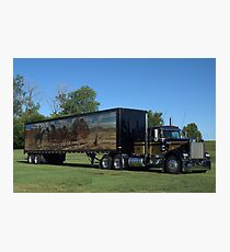 1973 Kenworth W900 Black and Gold Semi Truck Photographic Print