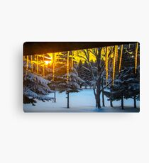 Icicles at sunrise Canvas Print