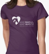 Hoof Prints and Heart Beats -- White on Purple Women's Fitted T-Shirt