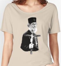 Brother Nathanael: Holding the Cross Women's Relaxed Fit T-Shirt