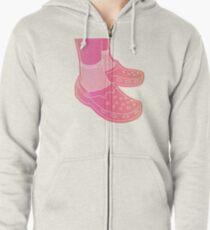 SOCKS AND CROCS gradient pink  Zipped Hoodie