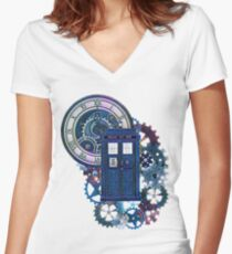 Time and Space Doctor Who inspired Art Women's Fitted V-Neck T-Shirt