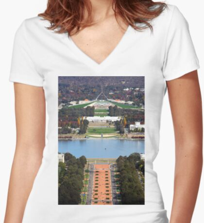 Anzac Parade - Canberra Women's Fitted V-Neck T-Shirt