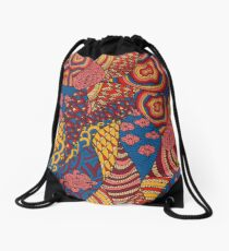 60s hippie psychedelic pattern Drawstring Bag