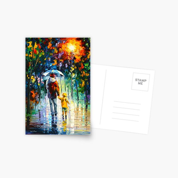 RAINY WALK WITH DADDY - Leonid Afremov Postcard