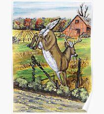 Deer Leaving Poster