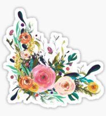 Pretty Watercolor Garden Floral Sticker