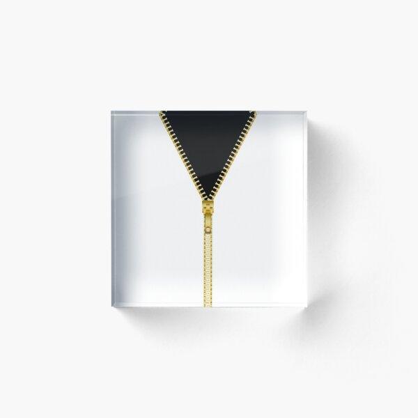 Gold zipper - Black inside Acrylic Block