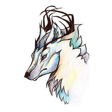 Pastel Rainbow Antlered Wolf by e-pona