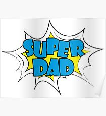 Super Dad - text in retro comic style Poster