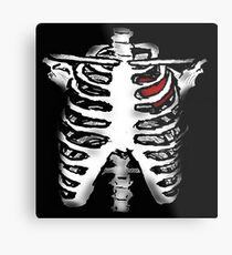 Rib Cage with Heart - Digital Art Metal Print