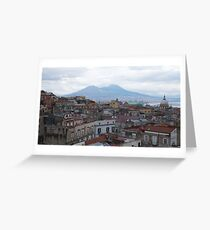 Landscape of Naples, with Vesuvius with snow Greeting Card