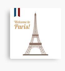 Paris Travel. Famous Place - Eiffel Tower. Welcome to Paris. Canvas Print