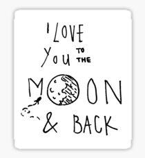 ich liebe dich bis zum mond und zur ck zeichnung sticker redbubble. Black Bedroom Furniture Sets. Home Design Ideas