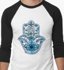 Blaues Hamsa Baseballshirt mit 3/4-Arm