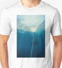 Underwater seascape of an hawser linked to anchor, mediterrean sea T-Shirt