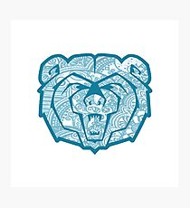 Blue MSU Bear Photographic Print
