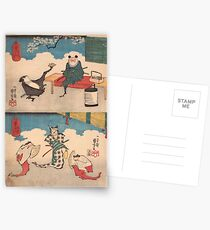 Bats Comic by Utagawa Kuniyoshi Postcards
