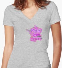 Womens Shirt Designed With All Major Cities in France Women's Fitted V-Neck T-Shirt