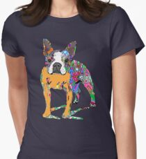 Boston Terrier Graffiti Women's Fitted T-Shirt