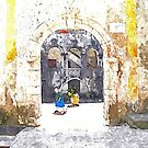 Old woman in courtyard to Tortora by Giuseppe Cocco
