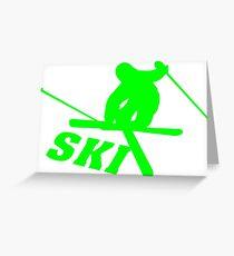 Ski, skiing, après ski, freeski, winter, snow, mountain, sport Greeting Card
