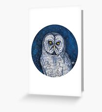 Great Grey Owl Watercolour Greeting Card