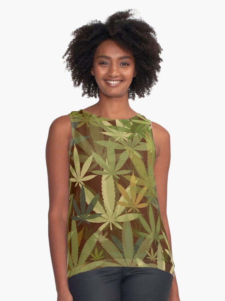 Marijuana Cannabis Weed Pot Humboldt County Camouflage Contrast Tank Front
