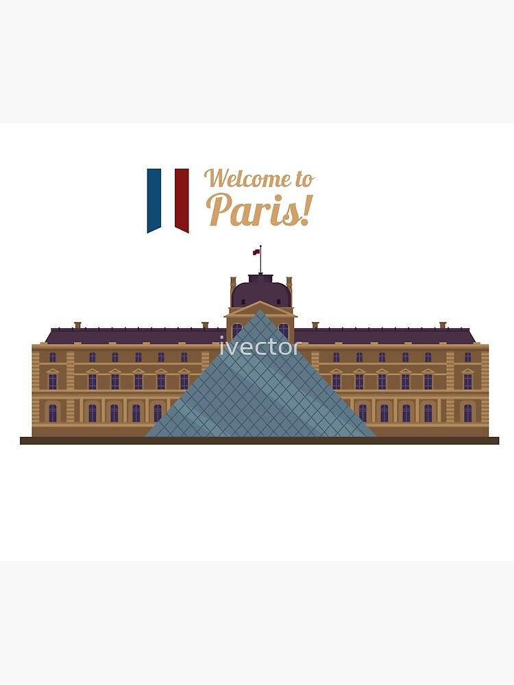 Paris Travel. Famous Place - Louvre by ivector