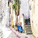 Tortora alley with scooter by Giuseppe Cocco