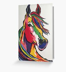 Angie's rainbow horse! Greeting Card