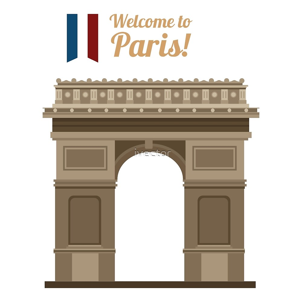 Paris Travel. Famous Place - Arc of Triomphe by ivector