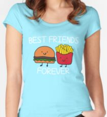 Best Friends Forever T-shirt Cool Hamburger and Fries Potatoes Emoticon Tshirt Women's Fitted Scoop T-Shirt