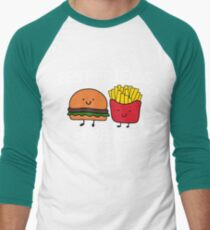 Best Friends Forever T-shirt Cool Hamburger and Fries Potatoes Emoticon Tshirt Men's Baseball ¾ T-Shirt