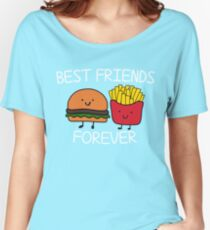 Best Friends Forever T-shirt Cool Hamburger and Fries Potatoes Emoticon Tshirt Women's Relaxed Fit T-Shirt