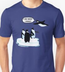 I Do What I Want T-shirt Cool Flying Penguin Tshirt Unisex T-Shirt