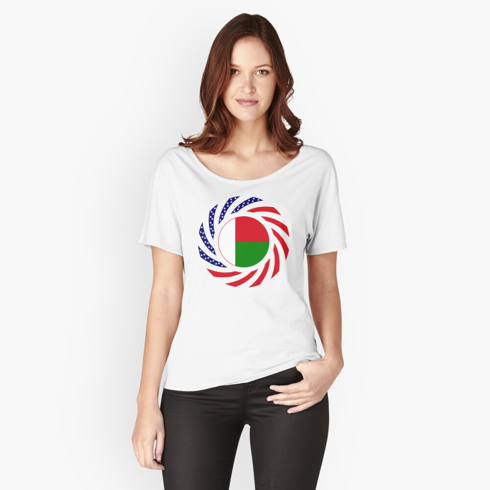 Madagascan American Multinational Patriot Flag Series Relaxed Fit T-Shirt