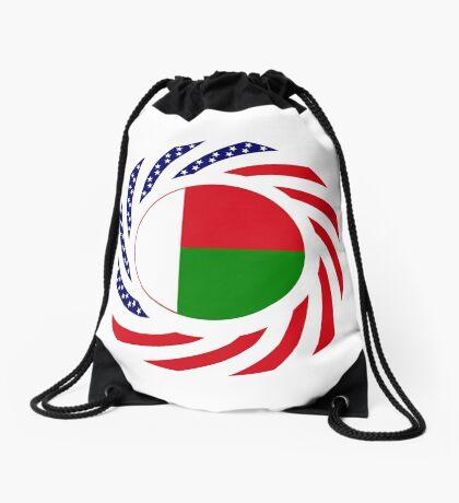 Madagascan American Multinational Patriot Flag Series Drawstring Bag