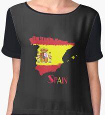 Spain Flag T Shirt Hoodie & More Chiffon Top