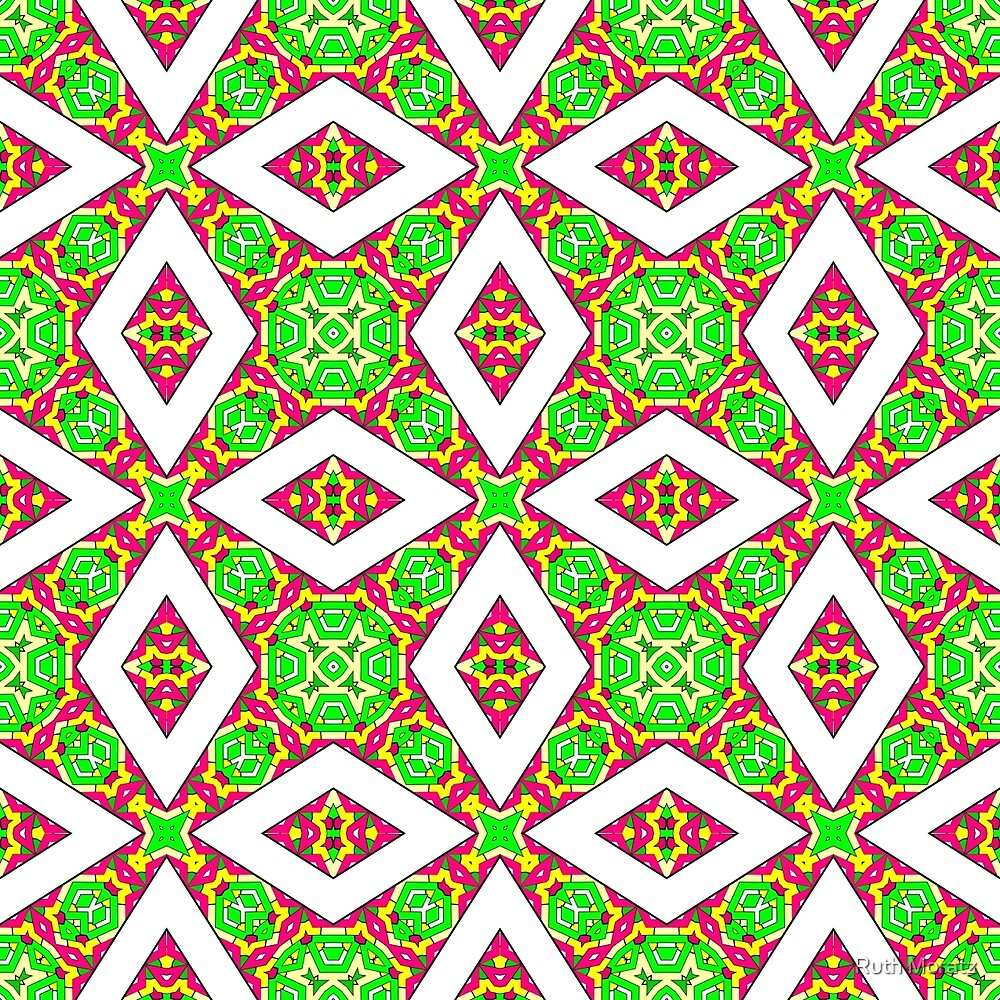 Pink Green and Yellow Abstract Print 05 by Ruth Moratz