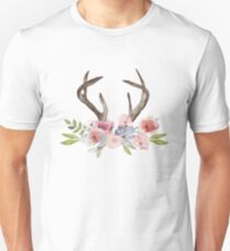 Rustic Watercolor Wildflowers and Antlers Unisex T-Shirt