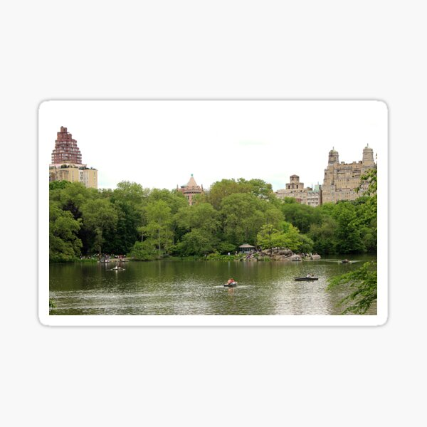 Enjoying The Lake in Central Park Sticker