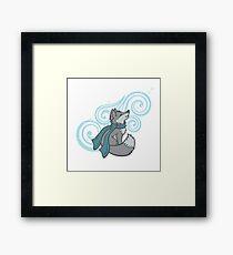Swirling Snow Fox Framed Art Print