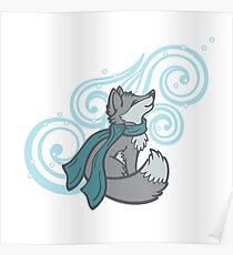 Swirling Snow Fox Poster