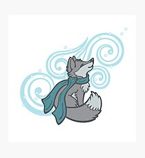 Swirling Snow Fox Photographic Print