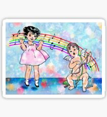 Jumping For Joy - Vintage Child And Cupid Music Illustration Sticker